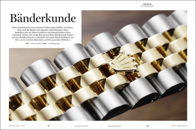 Die Bänder und Schließen von Rolex sind technische Kunstwerke Fundbieten viele Einstellungenllmöglichkeiten.