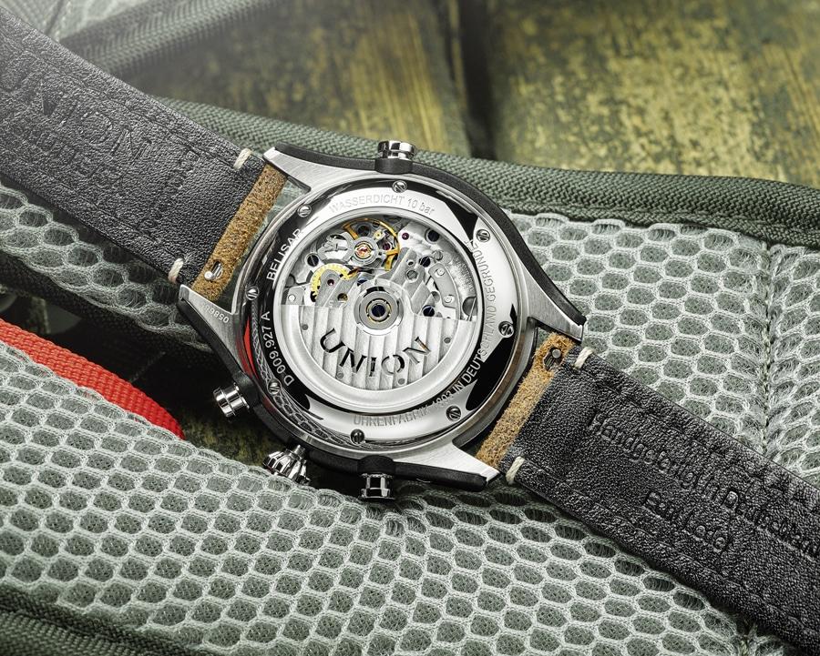 Beim Belisar Chronograph Sport von Union Glashütte kommt ein Eta/Valjoux 7753 zum Einsatz.