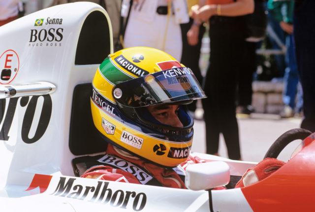 Der brasilianische Formel-1-Pilot Ayrton Senna beim Grand Prix von Monaco