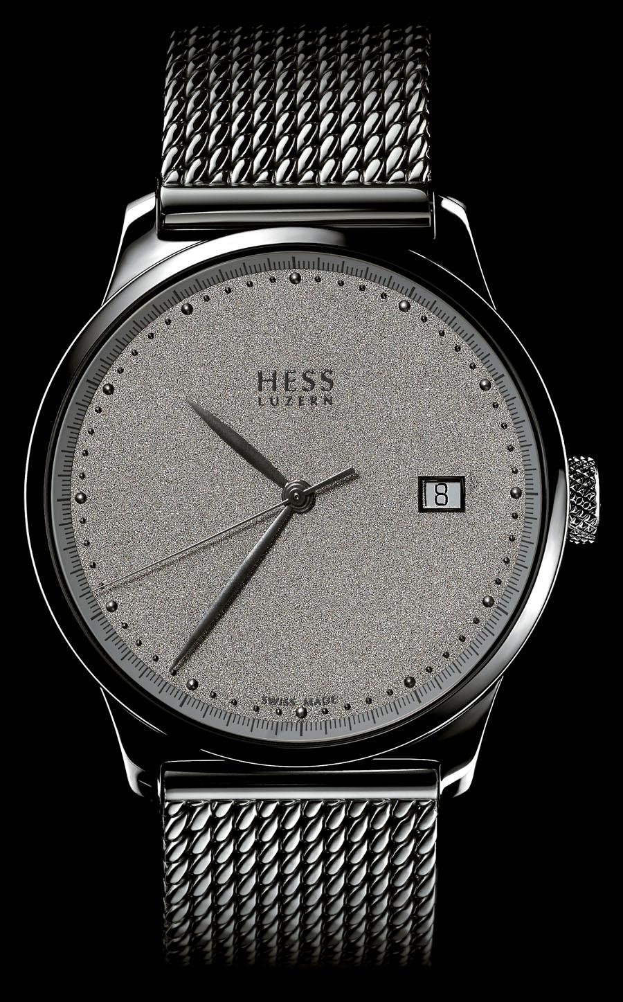 Hess Uhren: Two.2 Diamantstaub mit grauem Zifferblatt