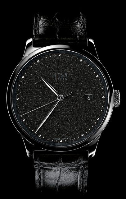 Hess Uhren Two.2 Diamantstaub mit schwarzem Zifferblatt