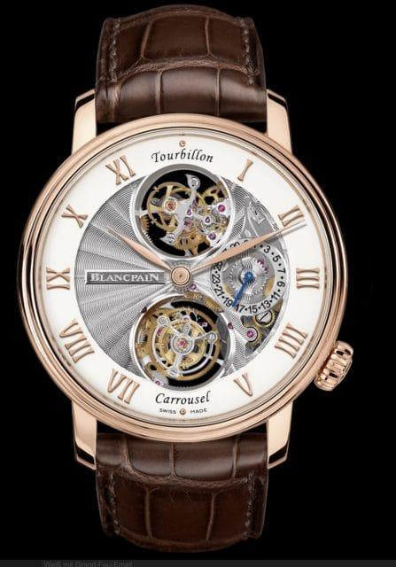 Blancpain bietet als einzige Uhrenmarke eine Armbanduhr mit fliegendem Tourbillon bei zwölf und einem Karussell bei sechs Uhr.