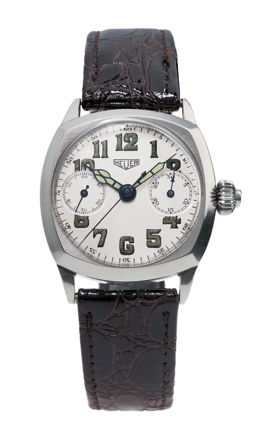 Vorbild: Der kissenförmige Ein-Drücker-Chronograph von 1933 gibt das Design der Monza vor.
