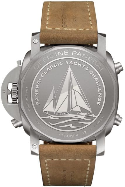 Der Gehäuseboden der PAM00652 zeigt ein Relief einer klassischen Segelyacht