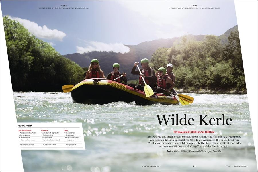 Mit dem UHREN-MAGAZIN beim Rafting: Sinn, TAG Heuer und Tudor