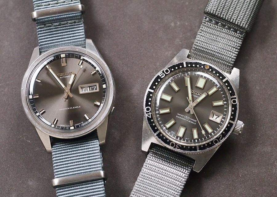 Die Seiko Sportsmatic 6619-8230 (links) ist mit den gleichen Zeigern ausgestattet wie die Seiko 62MAS