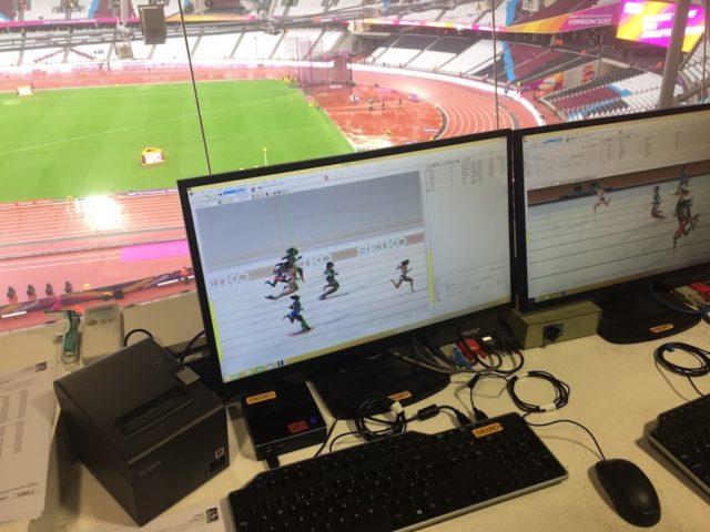 Das Foto-Finish-System erfasst jeden einzelnen Sportler bei seinem Zieldurchlauf und macht seine Zeiten sichtbar.
