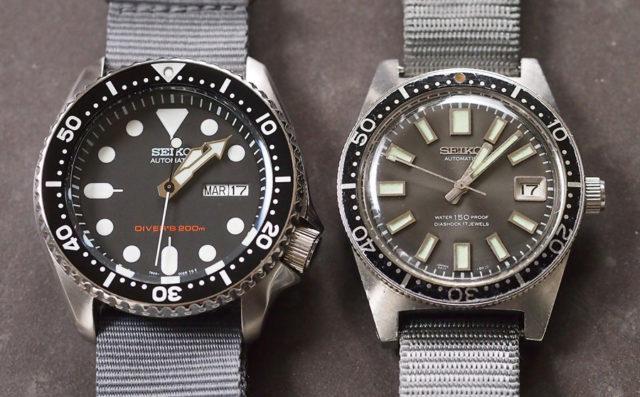 Seiko Taucheruhren: Links das aktuelle Modell SKX007 und rechts die Vintage-Taucheruhr 62MAS