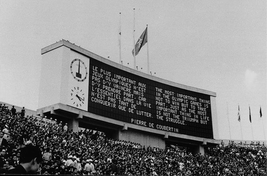 Für die olympischen Spiele 1964 in Tokyo entwickelte Seiko die weltweit erste elektronische Anzeigetafel