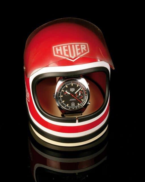 Der Helm: Die spezielle Auslieferungsbox der Heuer Monza ist heute kaum noch zu finden.