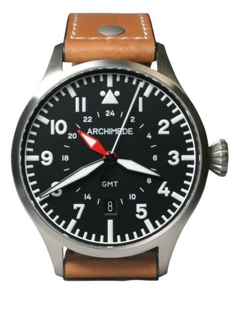 Archimede: Pilot 42 GMT am hellbraunen Lederband
