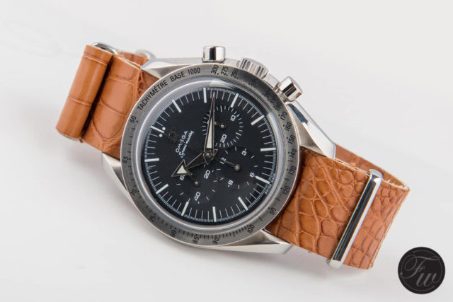 Omega: Speedmaster Professional '57 'Broad Arrow' Re-Edition (Referenz 3594.50) am Alligatorleder-NATO-Band