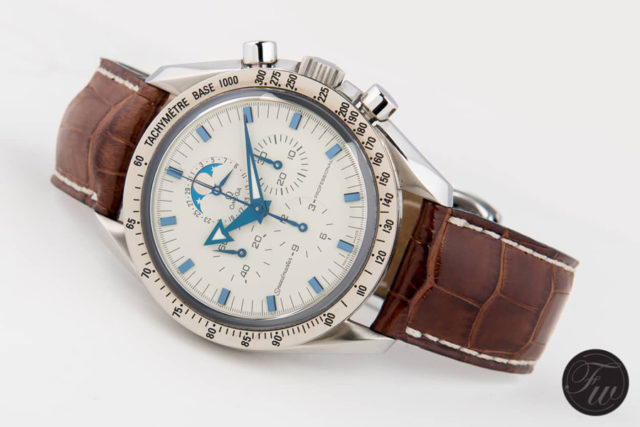 Omega: Speedmaster Professional Moonphase am Omega OEM-Alligatorlederband