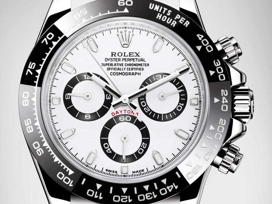 Verschraubt sind die Chronographendrücker bei der Rolex Oyster Perpetual Cosmograph Daytona