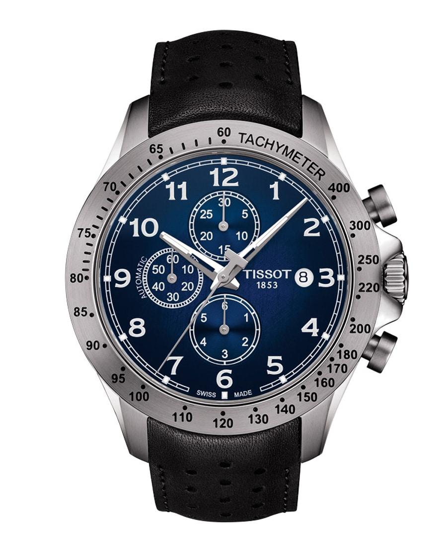 Tissot: V8 Automatic Chronograph in Blau mit Lederband