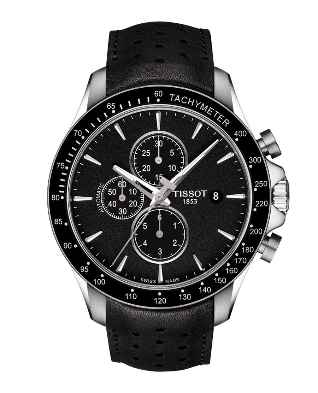Tissot: V8 Automatic Chronograph in Schwarz mit Lederband