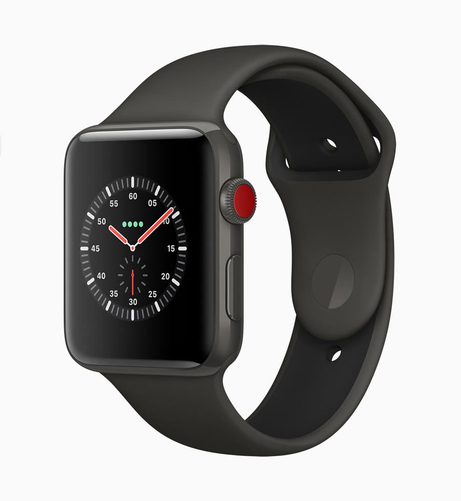 Der rote Punkt auf der Digital Crown markiert, dass die Apple Watch Series 3 über ein LTE-Modul verfügt.