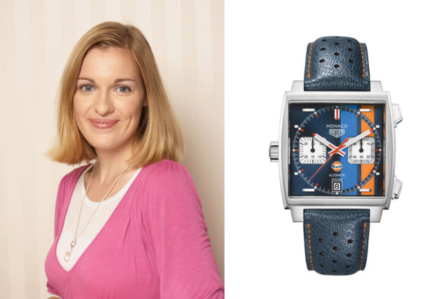 Katharina Studer, Online-Redakteurin Watchtim.net, gefällt die TAG Heuer Monaco Gulf Special Edition (5.250 Euro)