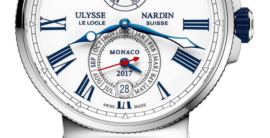 Die Datumsanzeige der Ulysse Nardin Marine Chronometer Annual Calendar Monaco steht ganz im Zeichen der Monaco Yacht Show