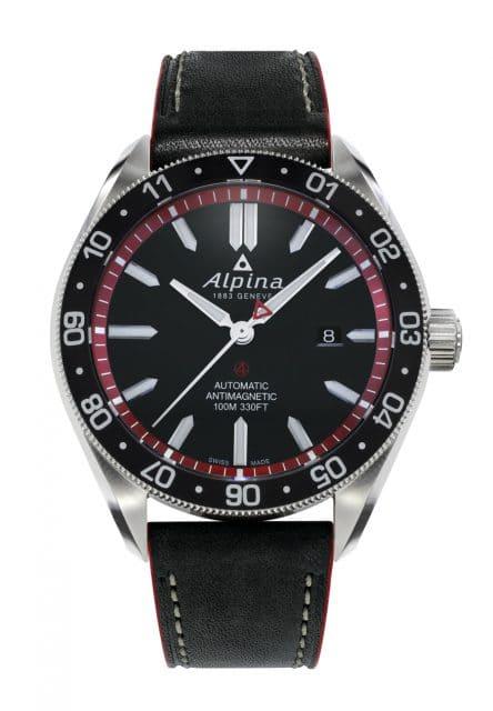 Alpina: Alpiner 4 Automatic mit schwarzem Zifferblatt und Lederband