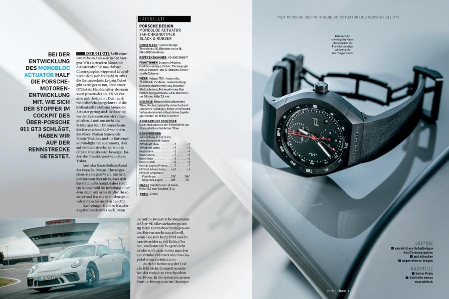 Test Porsche Design Monobloc Actuator und Porsche 911 GT3 in der Chronos 06.2017