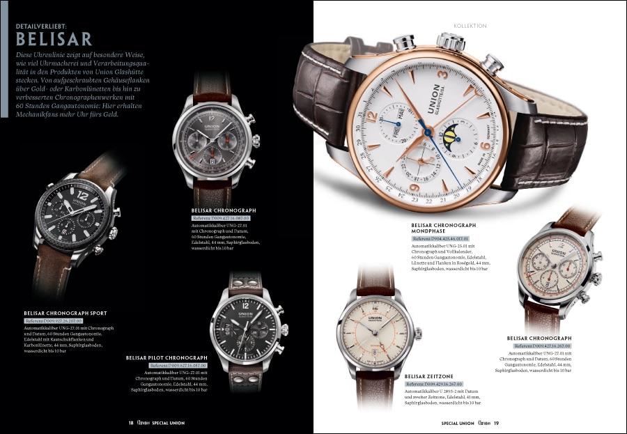 Chronos Special Union Glashütte: Die Kollektionsübersicht zeigt die Modellhighlights aus fünf Uhrenlinien