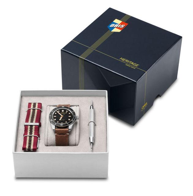 Die Oris Movember Edition kommt in einer Box mit zwei Armbändern und Bandwechselwerkzeug