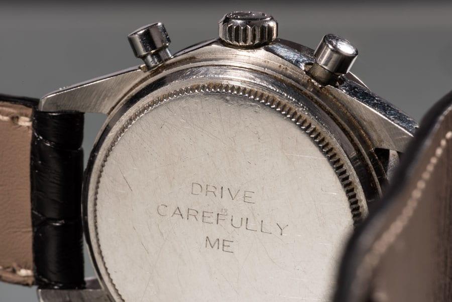 Die Bodengravur der Rolex Daytona Paul Newman Referenz 6239