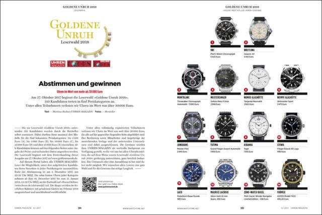 Wertvolle Uhren winken den Teilnehmern der Leserwahl zur Goldenen Unruh 2018 als Gewinn.