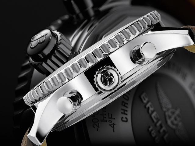 Der Rattrapante-Drücker ist bei der Breitling Navitimer Rattrapante in die Krone integriert.