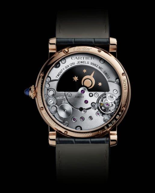 Die Rückseite der Rotonde de Cartier: Der stilisierte Nachthimmel bewegt sich scheinbar ohne Kontakt zum Uhrwerk.