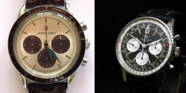"""Auktionen auf Catawiki: Universal Genève Compax Chronograph 884.485 und Breitling Navitimer 806 """"Big Eye"""""""