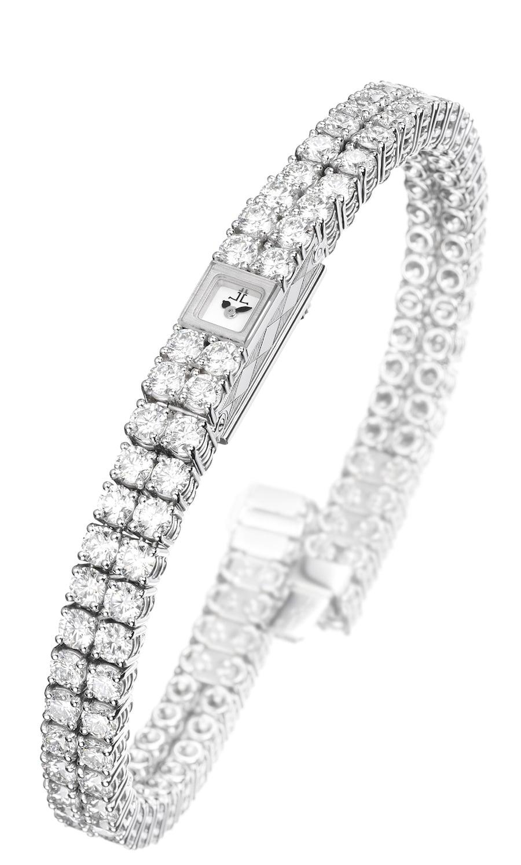 Das Uhrwerk 101 von Jaeger-LeCoultre eingebaut in einer Diamantschmuckuhr (Refrenz 281 33 04, 135.000 Euro)