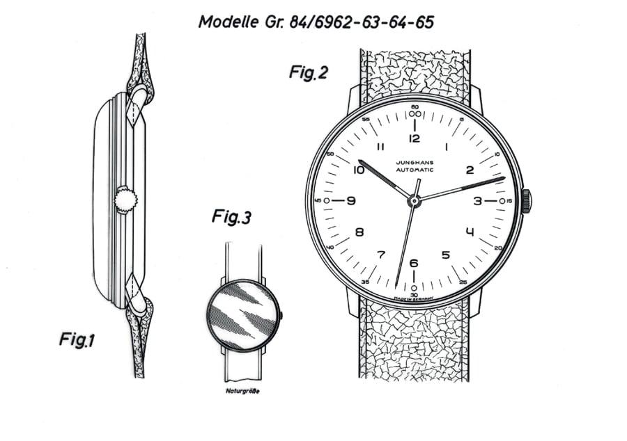 Geschmacksmuster für eine der frühen Armbanduhren von Max Bill