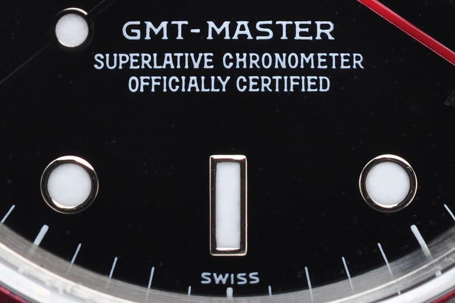Rolex Zifferblätter und ihre Bedeutung: Das SWISS only Zifferblatt einer GMT-Master