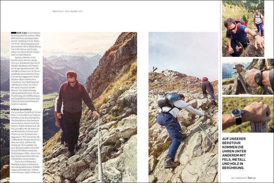 Uhren am Fels: die Chronos-Redakteure mit zwei Testuhren auf Bergtour