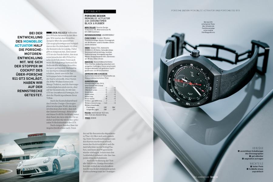 Mit einer Porsche-Design-Uhr und einem Porsche auf der Rennstrecke