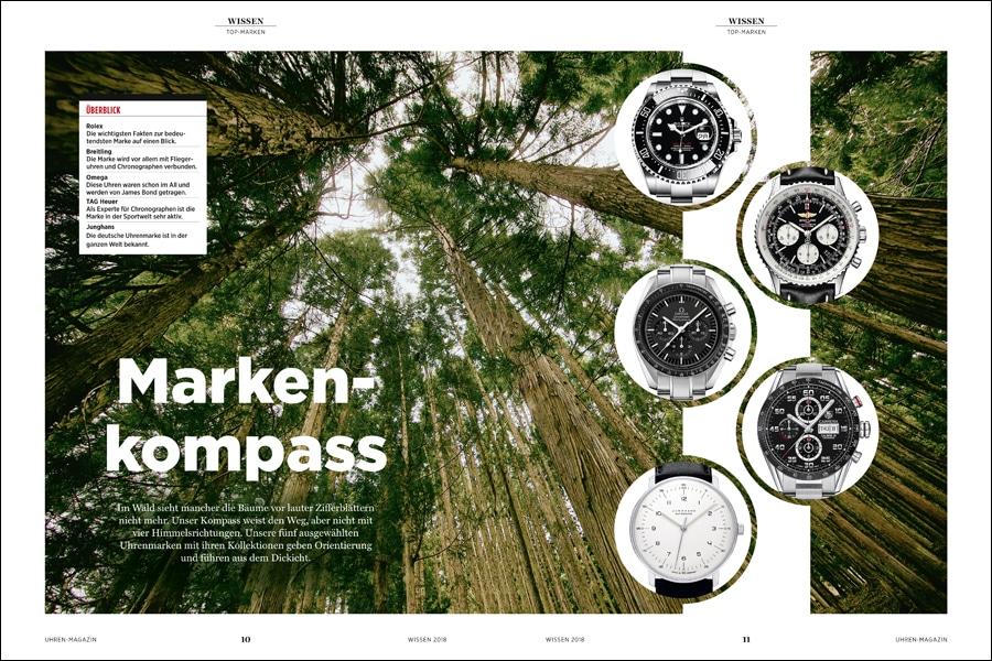 Der Markenkompass führt durch das Labyrinth der Uhrenmarken und erläutert deren Bedeutung und Geschichte.