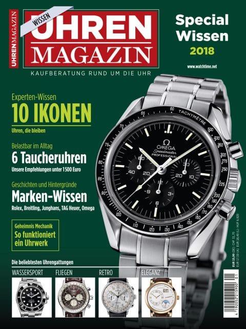 Die Titelseite der aktuellen UHREN-MAGAZIN-Ausgabe Wissen 2018.