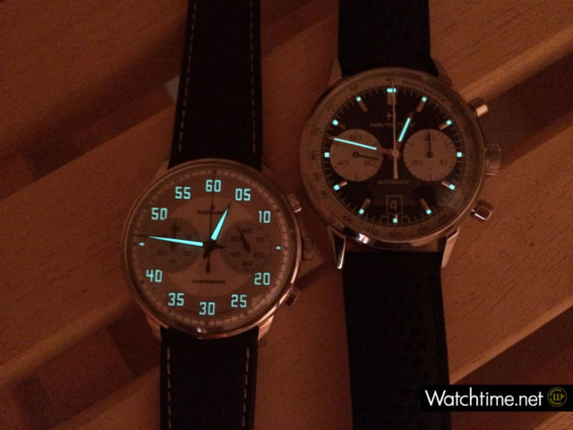 Hamilton Intra-Matic 68 und Junghans Meister Driver Chronoscope bei Nacht