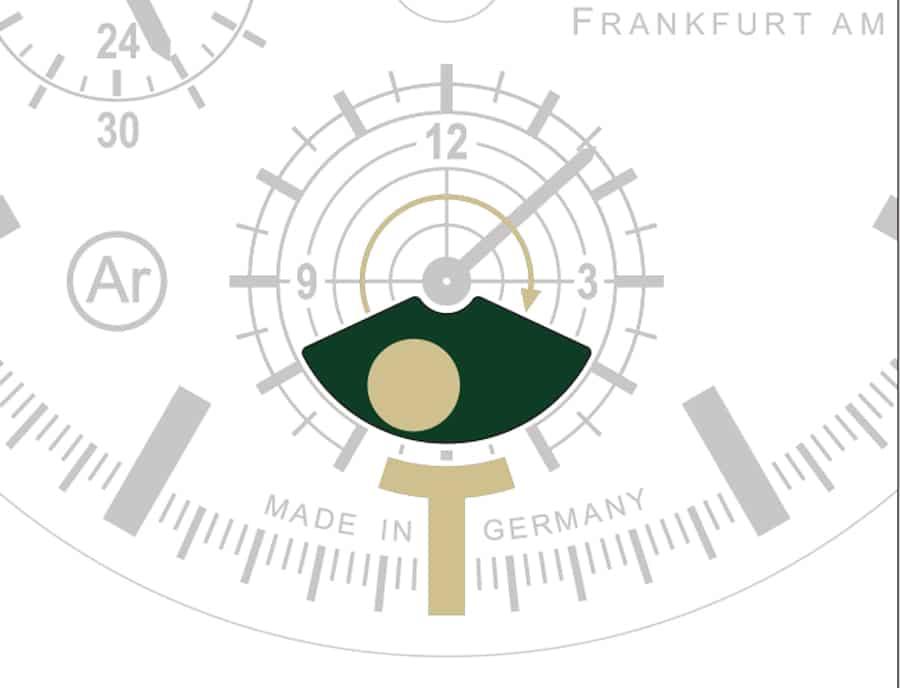 Sinn Spezialuhren: Mondlichtanzeige der Jagduhr 3006 (nach Vollmond)