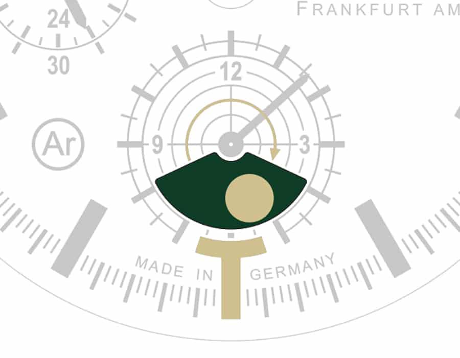 Sinn Spezialuhren: Mondlichtanzeige der Jagduhr 3006 (vor Vollmond)