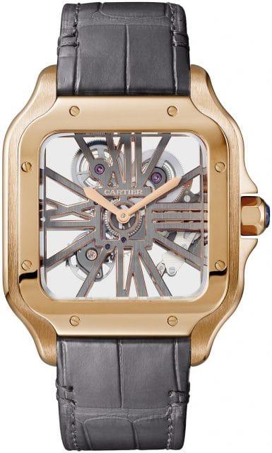 Cartier zeigt sein Knowhow beim Skelettieren mit der Santos de Cartier Skelettiert (Gelbgold, Handaufzugkaliber 9619MC, 61.000 Euro)
