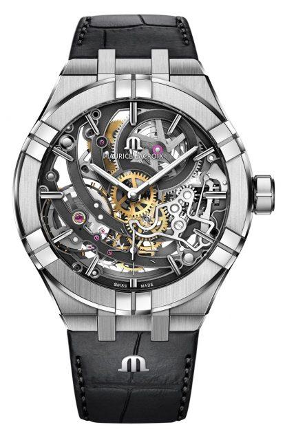 Die Skelettierung bei der Aikon Automatic Skeleton von Maurice Lacroix folgt einem ganz neuen Muster, das speziell für diesen Zeitmesser entworfen wurde. Es ist von fünf konzentrischen Kreisen gekennzeichnet, die das gesamte Uhrwerk durchziehen (5.600 Euro).