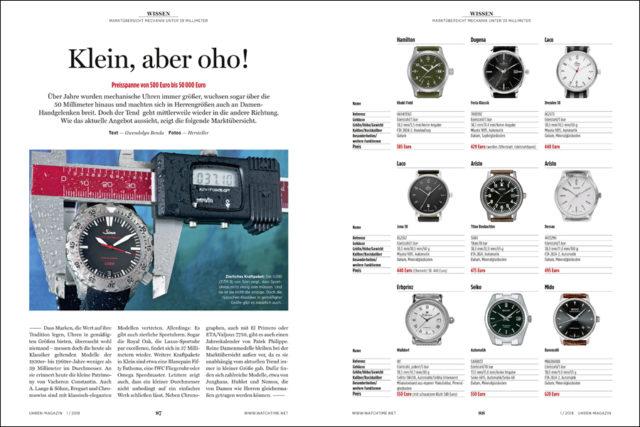 UHREN-MAGAZIN: Marktübersicht kleine Uhren