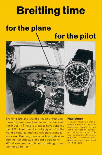 Breitling: Navitimer Fliegeruhren Werbung in den 1950 Jahren