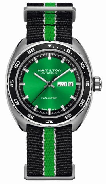 Hamilton: Pan Europ Green Edition mit Nato-Armband, 995 Euro