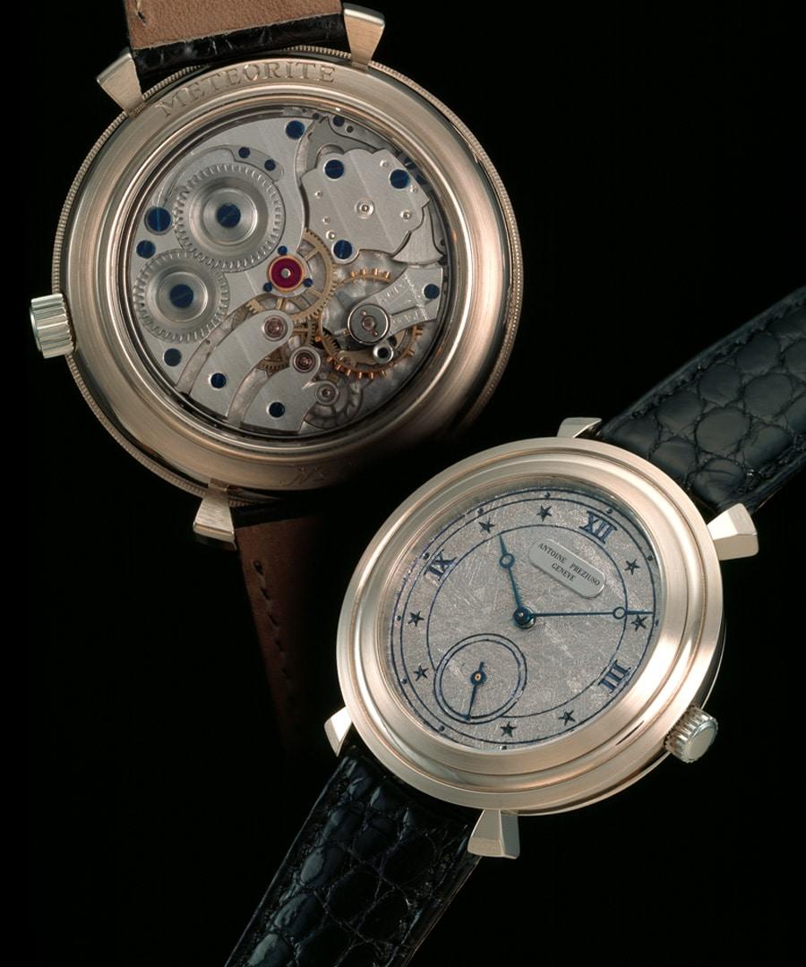 Die Repetitionsuhr Quarter Repeater Rotating Bezel besitzt ein Zifferblatt aus Gibeon Meteorit. Antoine Preziuso fertigte diese Uhr 1989.