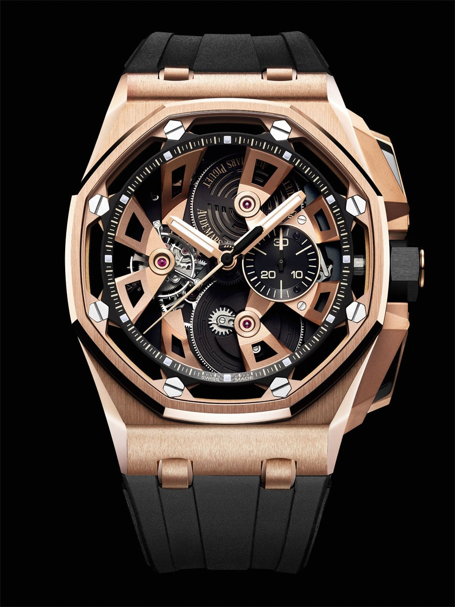 Audemars Piguet: Royal Oak Offshore Tourbillon Chronograph, Referenz 26421OR.OO.A002CA.01 in Roségold
