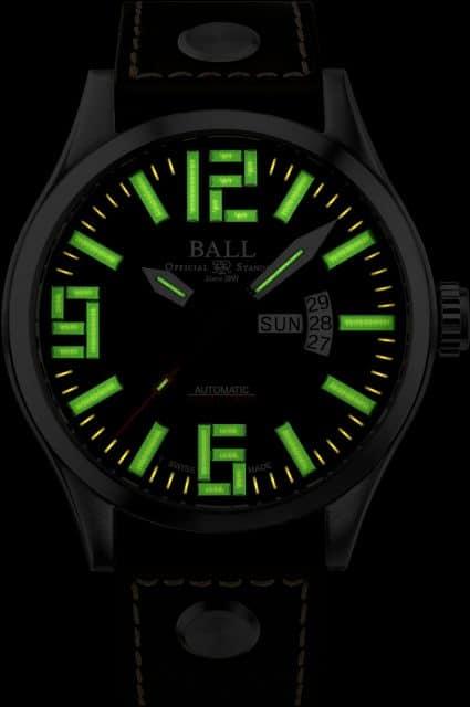 Die Ball Watch Engineer Master II Aviator besitzt eine sehr gute Nachtablesbarkeit